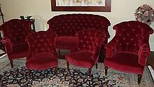 Five piece Victorian parlor suite in button back