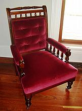 Victorian open arm chair in maroon velvet