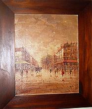 A. Lillaby oil on canvas Paris scene,