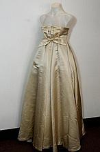 Cream silk evening / wedding dress strapless with