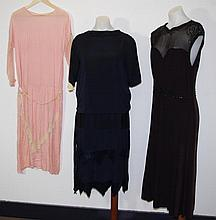 Three 1920-30 dresses to include a peach day dress