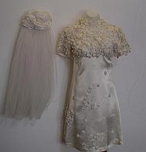 Silk floral mini wedding dress with applied