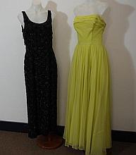 Long black vintage sequined dress circa 1960s,