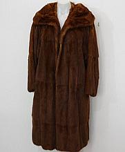Brown mink coat with large collar, satin lined,