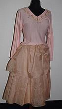 Pink silk organza skirt double tiered, circa