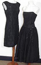Vintage black beaded lace wiggle dress labelled