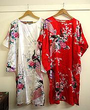 Two Chinese gowns of printed satin, one of red,