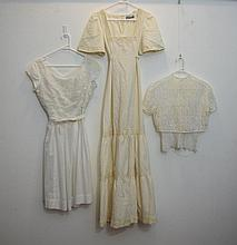 White cotton voile 1950s dress with a embroidered