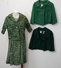 Vintage green printed cotton dress & jacket dress