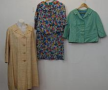 Floral silk dress suit circa 1950-60, comprising