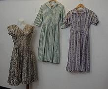 Three cotton 1950s dresses Two in shirt coat