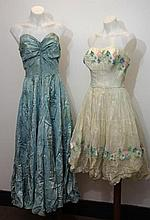 White lawn 1950s summer dress with pastel floral