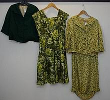 Green silk 1950s floral suit Jacket with 3/4