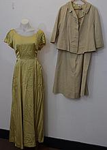 Cream silk 1950s suit with and all in one 3/4