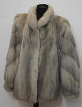 Grey mink jacket small stand up collar, cuffed