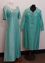 Turquoise green silk evening dress circa 1960s,