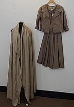 A fawn three piece 1950s silk suit to include