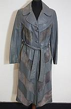 Long grey leather and suede coat worked in chevron