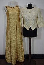 Gold lame long 1960s dress with sequin and bead