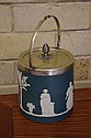 Antique jasperware biscuit barrel with silver