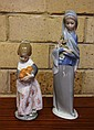 Two Lladro figurines girl holding flowers 23cm