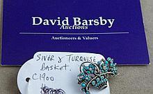 Edwardian silver & turquoise basket form brooch