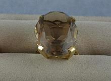 Vintage 9ct yellow gold and smokey quartz ring