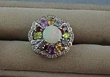 Australian solid opal & multi-gemset ring in