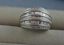 18ct white gold ring with 7 rows of diamonds Four