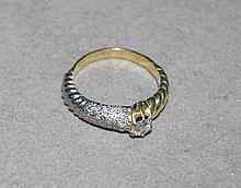 18ct yellow gold, platinum, 29 stone diamond ring