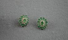 Silver and Columbian emerald earrings