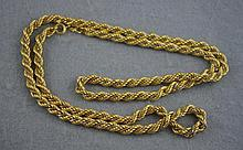 18ct yellow gold rope twist chain with white