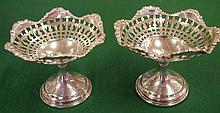 Pair of George V sterling silver miniature tazza