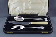 Elizabeth II sterling silver christening set