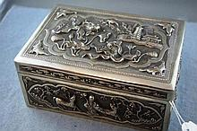 Large signed Chinese silver lidded box marked 925,