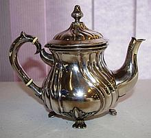 Antique Silver teapot, stamped 875 , with gilded