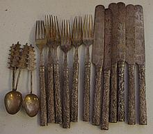 Six oriental bamboo pattern knives and forks