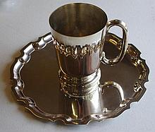 Silver plated tray and tankard tray marked Hardy