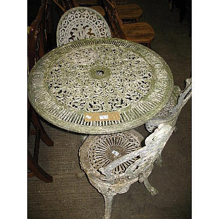 A painted alloy garden table, together with three