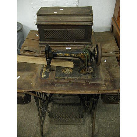 Two treadle sewing machines, suitable for