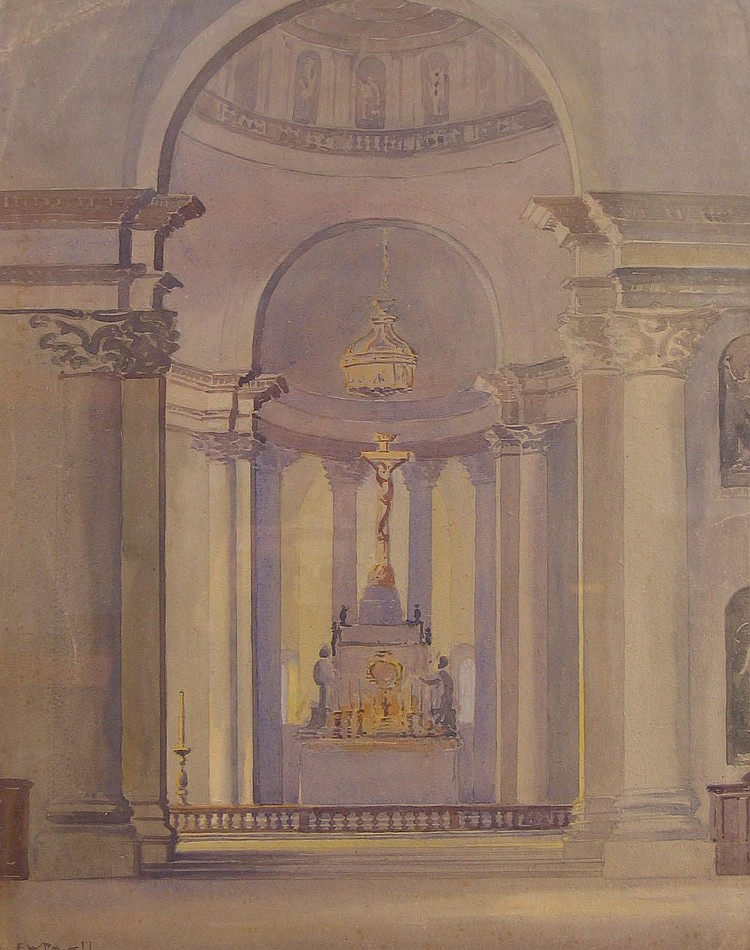 Watercolour: Eric Walter Powell (1886 - 1933),