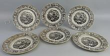 A set of six 19th Century Middlesbrough Pottery plates, each transfer print