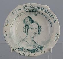 A 19th Century pearlware Queen Victoria coronation commemorative nursery pl