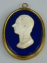 A 19th Century wax profile of William Pitt - The Younger, mounted on an ova
