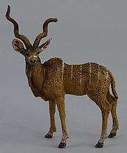 An Austrian cold painted bronze figure of an antelope, impressed Vienna wit