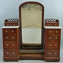 A Victorian mahogany dressing table/dressing mirror, comprising central arc