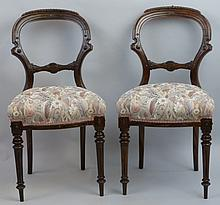A set of six late Victorian/Edwardian simulated rosewood salon chairs, with