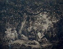 After George Morland (19th Century), a pair of sepia prints entitled