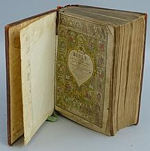Breeches Bible 1609, imprinted at London by Robert Barker, watercolouring t