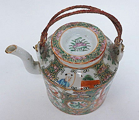 ROSE MEDALLION TEAPOT; 5 IN H